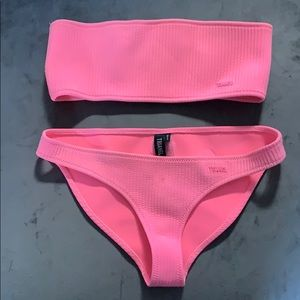 Hot Pink Triangl Bandeau Bikini Set